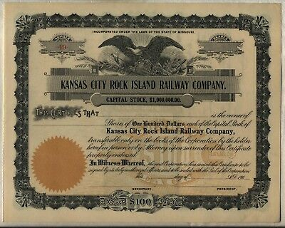 Kansas City Rock Island Railway Company Stock Certificate Missouri