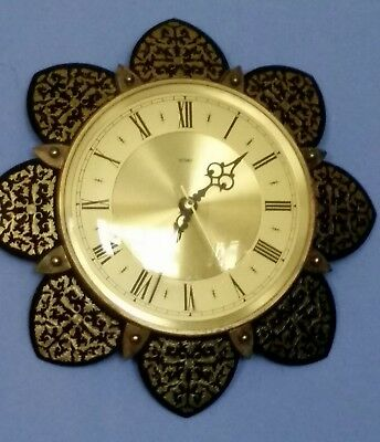 VINTAGE METAMEC SUNBURST STARBURST BATTERY WALL CLOCK 1960s ENGLAND KIENZLE MECH