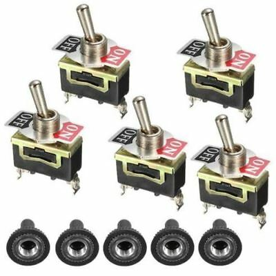 5 x Heavy Duty Metal Toggle Switch - On / Off 12V 15 amp 250 Volt