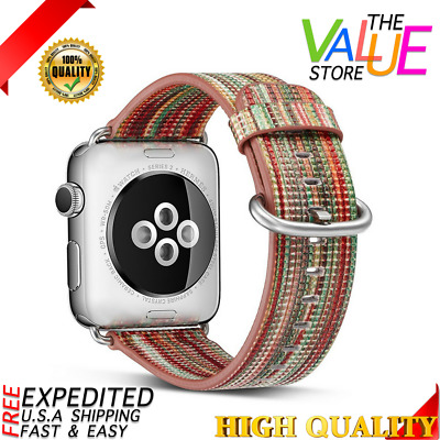 Rainbow Strap Apple Watch Band Strap Replacement Wrist Brace Genuine Leather New