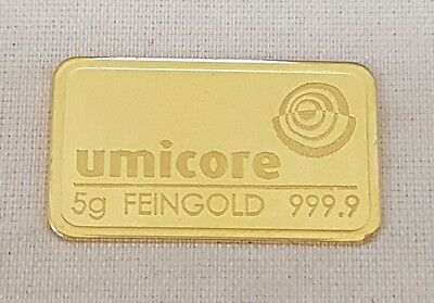 (1) 999.9 Pure Gold Credit Umicore 5 Gram Bar Ingot