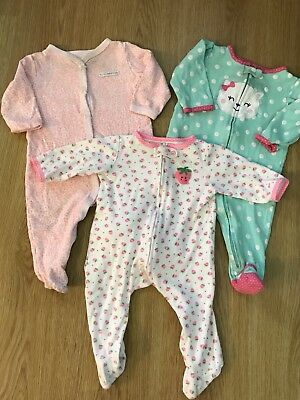 Carter's Sleepers Baby Girl 9 Months Lot Pajamas 3 Piece Set