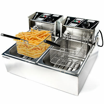 11 Liter Stainless Steel Dual Tank Commercial Countertop Deep Fryer Machine 110v
