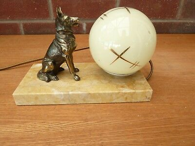French Vintage/Art Deco Bronze Spelter Dog On Marble Mood Lamp  Pale Green Globe