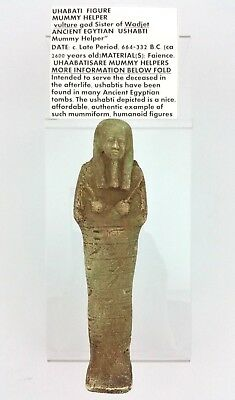Ancient Egyptian Uhabati Figure Mummy Helper 664-332 BC Antique with Hieroglyphs