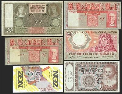 Netherlands Collection 6x 25 & 100 Gulden + Replacement 1941 - 1955 Set