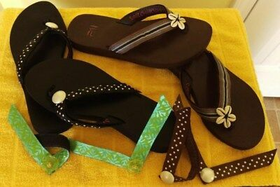 SWITCH FLOPS- Two pair - Size 8 -1 black -1 brown -4 changeable straps