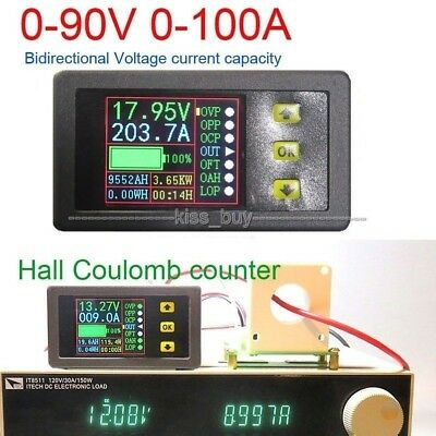 Battery Monitor Digital DC 90V 100A Voltmeter Ammeter Power Capacity Time Meter