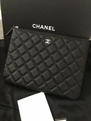 CHANEL~BRILLIANT BLACK Caviar Leather Quilted Small O-Case~Clutch~Purse! e07cc7ffbc