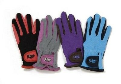 (10-12, Nvy/skyblue) - Tough-1 Childs Pony Gloves 10-12 Nvy/SkyBlue. Tough 1