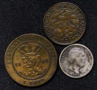 Lot of 3 Netherlands & East Indies 1 Cent 1921, 1857 & 1889 silver 10 Cents