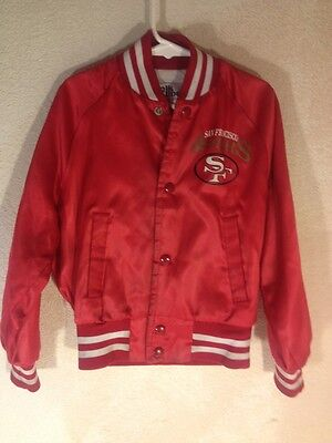 Vintage Red San Francisco 49ers Football Chalk Line Childs Youth Kids Jacket