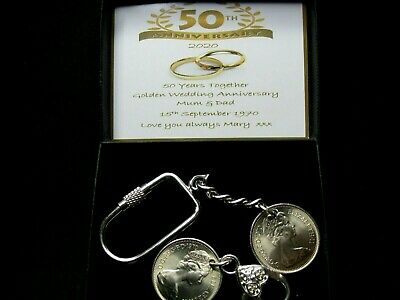 1969 5p/Shilling Keychains 50th Golden Wedding Anniversary Gift Personalised