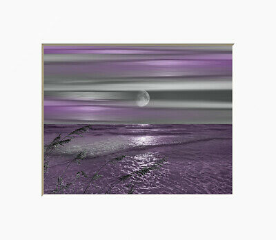 Coastal Ocean Wall Decor, Purple Gray Bathroom Bedroom Wall Art Matted Picture