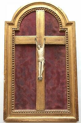 RARE antique Jansenist crucifix from 17th or 18th Century gilded & framed cross