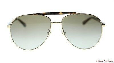 5177a5d9400 Gucci Men s Sunglasses GG0014S 002 Havana Gold Brown Lens Aviator Authentic  60mm