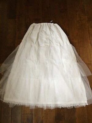 Wedding dress underskirt with three tiers of net and lace hem - white