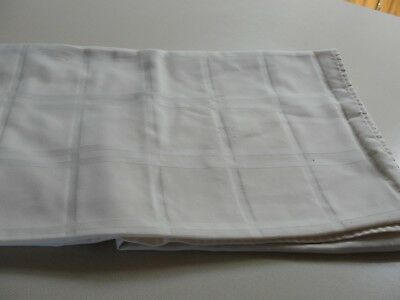 Vintage Square Tablecloth Off White Square Pattern 45 x 50 in Small Catches