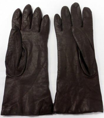 Cashmere Lined Dark Brown Leather Gloves Size 7 1/2, 10 1/2 Inches Long