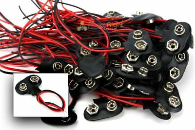 100 pcs 9V Battery Connector Snap Clip Wire Lead 9 Volt Holder NEW Set of 100
