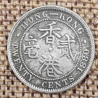 1880 Hong Kong 20 Cents Coin Collectible Bank Note & Stamp British Colony Period