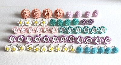 29 Pairs Of Floral Stud Earrings. Daisy. Craft Stall Joblot Sale