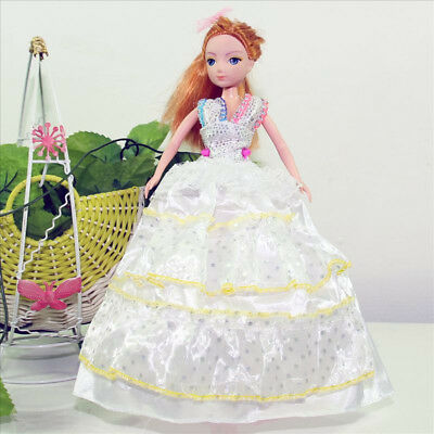 Handmade Party Dress Fashion White Clothes For Barbie Doll Outfit Gown Wedding G
