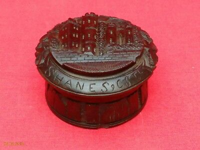 Antique / Vintage Bog Oak Trinket Or Ring Box. Relief Carved Shane's Castle Top
