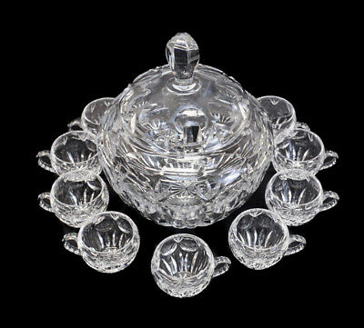 Gorham Bamberg Crystal Covered Punchbowl with 9 cups. Cut Dot & Fan Design