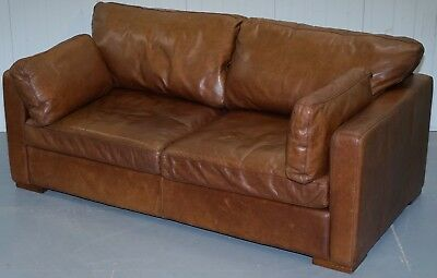 Lovely Rrp £2399 House Of Fraser Aged Brown Leather Sofabed Heritage Upholstery