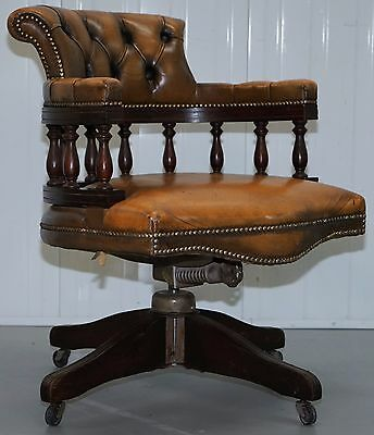 RARE ORIGINAL 1950's CHESTERFIELD TAN BROWN LEATHER HILLCREST CAPTAINS CHAIR