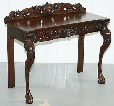 Lovely 19Th Century Continental Hand Carved Console Table With Leaf Scroll Legs
