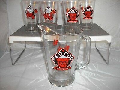 RED DOG BEER Miller Plank Brewing Beverage Pitcher and 4 Pint Glasses Vtg