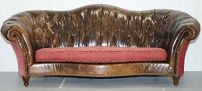 Rrp £5000 Paul Brock Heritage Leather Chesterfield Sofa Serpentine Curved Back