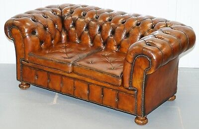 Sprung Walnut Thomas Chippendale Restored Aged Brown Leather Chesterfield Sofa