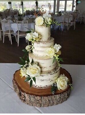 """16"""" sanded and oiled wooden rustic log Cake Stand for weddings & celebrations"""