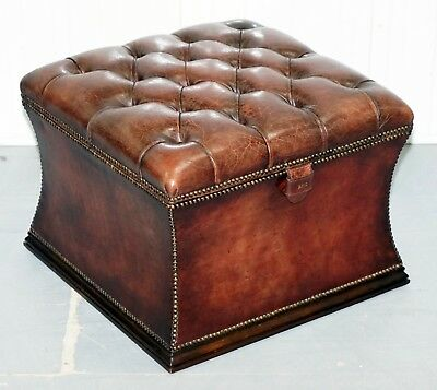 Rare Ritz London 1960's Chesterfield Brown Leather Stool Ottoman Footstool