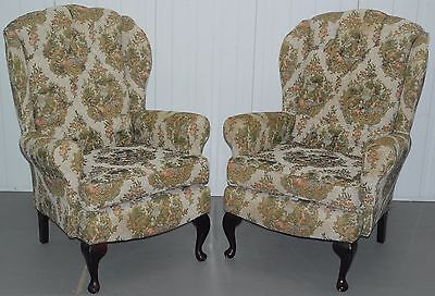 Pair Of Embroidered Needlework Upholstered Chesterfield Wingback Armchairs