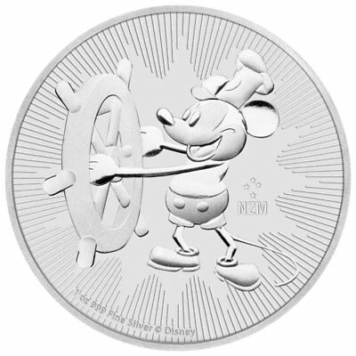 2017 1 oz New Zealand Silver $2 Niue Mickey Mouse Steamboat Willie Coin