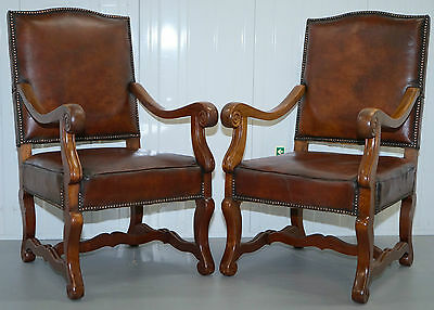 Pair Of 19Th Century Victorian Mahogany Brown Leather Carolean Throne Armchairs
