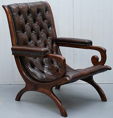 Restored 1940 Brown Leather Chesterfield Library Slipper Armchair Mahogany Frame