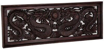 Wandrelief Holz Relief Wandbild Drachen Antik Style China Möbel Thai 100X38Cm'3