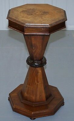 Victorian Rosewood & Walnut Sewing Side Pedestal Table George & The Dragon Inlay
