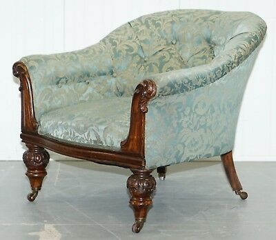 Stunning Victorian Rosewood & Silk Upholstered Chesterfield Button Tub Armchair