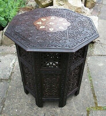 Antique Octagonal Inlaid Folding  Anglo/ Indian   Side Table