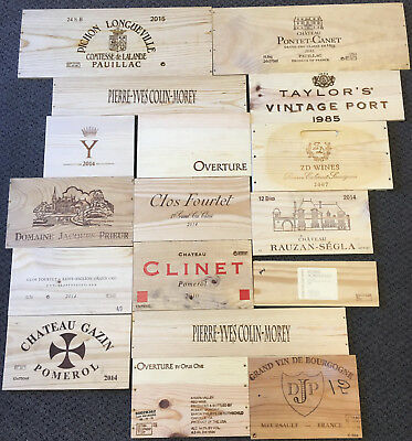17 Wooden Wine Box End Panels from Wine Crates for Decoration Rare Wines Lot 2