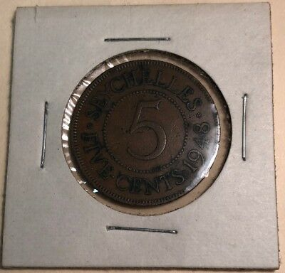 Seychelles 5 Cents 1948 Great Bronze Coin!