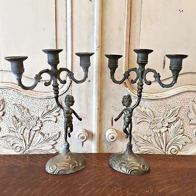 Pair of French Vintage Cupid Candelabra Candle Holders - Pewter - QN505