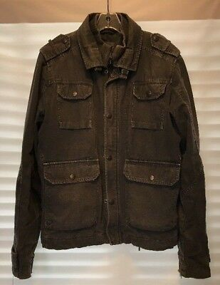 Diesel Mens Jacket field Military Utility Green distressed Quilt lining heavy M