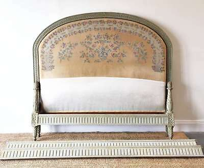 Antique French Bed Louis XVI Style Original Paint Aubusson Upholstered - QN039